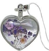 Echte paarse bloem hart hanger, slang ketting verzilverd
