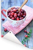 Een decoratieve kom met cranberry's Tuinposter 60x90 cm - Tuindoek / Buitencanvas / Schilderijen voor buiten (tuin decoratie)