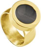 Quiges RVS Schroefsysteem Ring Goudkleurig Glans 20mm met Verwisselbare Cat's Eye Grijs 12mm Mini Munt