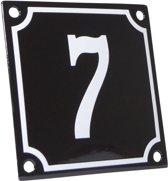 Emaille huisnummer zwart/wit nr. 7 10x10cm