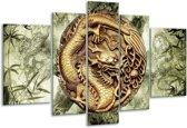Glasschilderij Abstract | Groen, Bruin | 170x100cm 5Luik | Foto print op Glas |  F003278
