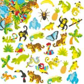 Foam stickers regenwoud - knutselspullen voor kinderen - scrapbooking verfraaiing om te maken en versieren kaarten decoraties en knutselwerkjes (100 stuks)