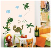 Vrolijke Premium Prachtige Muursticker Dinosaurussen Maat M – Muurdecoratie / Kinderkamer