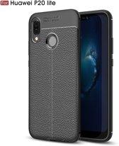 """Huawei P20 Lite leer hoesje (5.8"""") -TPU siliconen met lederen achterkant – zwart"""