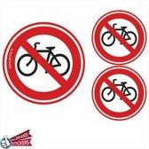Geen fietsen plaatsen sticker (set 3 stuks)