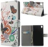 Butterfly wit wallet hoesje Sony Xperia Z3