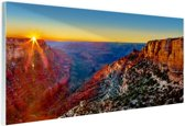Grand Canyon National Park zonsondergang Glas 30x20 cm - Foto print op Glas (Plexiglas wanddecoratie)