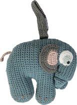 Sebra - Gehaakt muziekdoosje olifant - pastel blauw