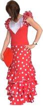 Spaanse jurk - Flamenco jurk Deluxe – Rood Wit - Maat 44 - Volwassenen - Verkleed jurk