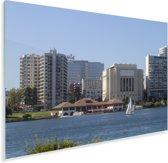 Het meer Merritt met uitzicht op het Noord-Amerikaanse Oakland Plexiglas 180x120 cm - Foto print op Glas (Plexiglas wanddecoratie) XXL / Groot formaat!