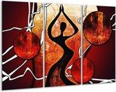 Canvas schilderij Abstract | Zwart, Rood, Wit | 120x80cm 3Luik
