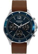 Prisma Herenhorloge P.1322 Lederen band Zilver