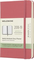 Moleskine agenda 18 maanden - wekelijks 2018/2019 roze - Pocket - Hard Cover
