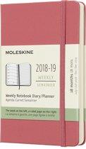 Moleskine agenda 2018-2019 - 18 maanden - Roze - Pocket - Hard cover