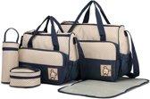 Miss Lulu Luier- en Verzorgingstas – Luiertas Set – 5 delige Diaper Bag - Duurzaam en Stijlvol - Grote Capaciteit - Unisex/Jongens/Meisjes - Blauw (9026 NY)