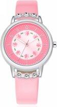Roze Horloge - meisjes/ meiden - met schitterende steentjes - 30 mm - I-deLuxe verpakking