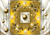 Fotobehang Yellow Diamond Abstract Modern | M - 104cm x 70.5cm | 130g/m2 Vlies
