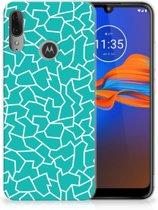 Motorola Moto E6 Plus Hoesje maken Design Cracks Blue