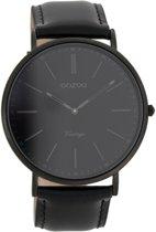 OOZOO Vintage C7301 - Horloge - Leer - Zwart - 44 mm