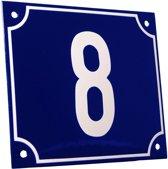 Emaille huisnummer blauw/wit groot nr. 8 18x15cm