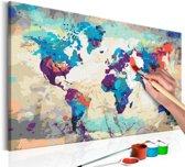 Doe-het-zelf op canvas schilderen - Wereldkaart 60x40