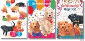 3x dubbele A4 kaart met envelop - Francien - Hiep hiep hoera -  Gefeliciteerd - Honden - Formaat: 210 x 297mm