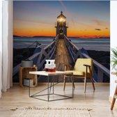 Fotobehang Lighthouse At Sunset   V8 - 368cm x 254cm   130gr/m2 Vlies
