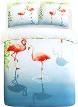 Papillon Flamingle - Dekbedovertrek - Eenpersoons - 140x200/220 cm + 1 kussensloop 60x70 cm - Multi