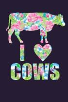 I Love Cows Floral Notebook Journal