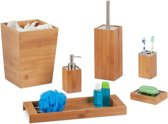 relaxdays badkameraccessoires set bamboe - 6-delige badkamerset - schaaltje - zeeppompje