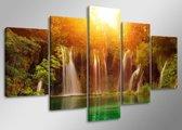 Waterval - Canvas Schilderij Vijfluik 160 x 80 cm