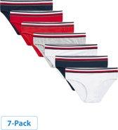 Tommy Hilfiger - Meisjes 7-Pack Bikini Slips Navy Wit Grijs Rood - 128/134