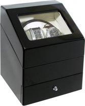 Time Tutelary Watchwinder - Luxe dubbele Automatische Watchwinder / Horloge opwinder met lade - Zwart