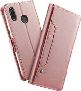 Huawei P Smart Plus Book Cover met Spiegel Roze Goud