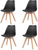 Eetkamerstoelen Zwart 4 STUKS Kunstleer / Eetkamer stoelen / Extra stoelen voor huiskamer / Bezoekersstoelen