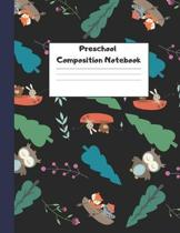 Preschool Composition Notebook: Dotted Midline Creative Picture Writing Exercise Book (Cute Camping Animals Owls, Rabbits, Fox) - Grade K-2 Early Chil
