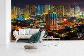 Fotobehang vinyl - Kleurrijke verlichting in Manila breedte 430 cm x hoogte 240 cm - Foto print op behang (in 7 formaten beschikbaar)
