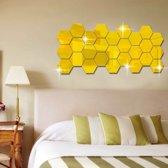 Spiegel Sticker Set - Wandspiegel - Spiegelsticker - Goud - 12 stuks - Acryl - 80 x 70 x 40 mm - Decorsticker - Woonkamer Decoratie Spiegelende Sticker