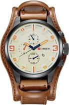 Curren 'Style' Brown Heren Horloge - Bruin - PU Leder - 48 mm