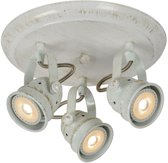 Lucide CIGAL - Plafondspot - Ø 27 cm - LED - GU10 - 3x5W 2700K - Antiek wit