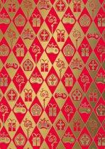 Sinterklaaspapier S491395 - Classic Sinterklaas rood-goud - Toonbankrol breedte 30 (breedte rol)cm - 125m lang - S491395 -30cm