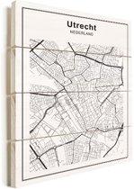 Stadskaart - Utrecht vurenhout 60x80 cm - Plattegrond