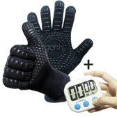 2 BBQ handschoenen  (gemaakt van Aramide en Kevlar) en 1 Digitale Kookwekker