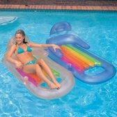 Opblaasbaar Luchtbed Zwembad Regenboog | Opblaasbare Vouwbaar Luchtbed Bestway 160 cm | Luchtbed en Loungestoel in 1