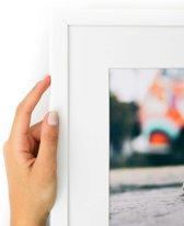 Witte smalle kader met witte passe partout. (Handgemaakt) Formaat Fotoformaat 30x50 | Kaderformaat 40x60