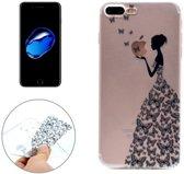 iPhone 7 Plus / iPhone 8 Plus (5,5 Inch) - hoes, cover, case - TPU - Transparant - Meisje met vlinder