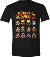 Street Fighter II - Pixel Characters Mannen T-Shirt - Zwart - L
