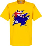 Australië Ripped Flag T-Shirt - Geel - XL
