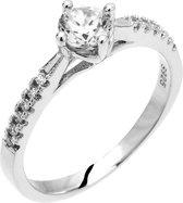 Montebello Ring Pasithea  - Dames - Zilver Gehrodineerd - Zirkonia - ∅6 mm - maat 58 - 18.5