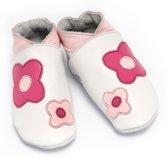 Babyslofjes meisjes bloem wit fuchsia